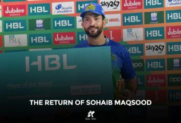 Sohaib Maqsood receiving player of tournament award in PSL
