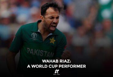 Wahab Riaz celebrating wicket in World Cup