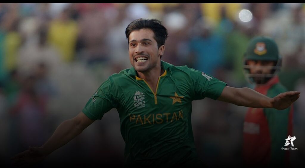Mohammad Amir celebrating in Pakistan Colours